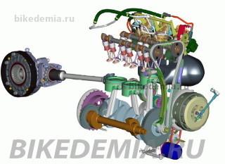 Результат 3D-моделирования двигателя Triumph Rocket III