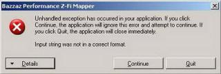 Сообщение об ошибке программы BAZZAZ Z-Fi Mapper
